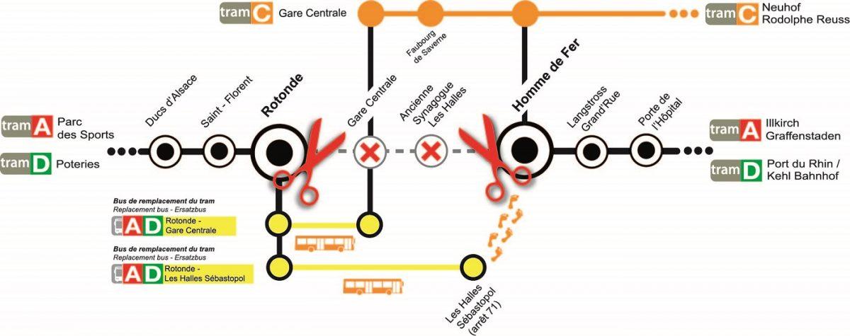Préférence Strasbourg : 2 lignes de tram passant par la gare seront coupées  QI15